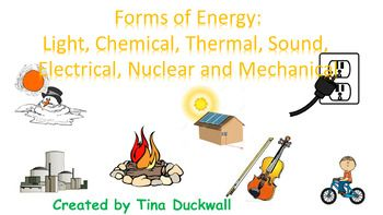 Cut out the task cards and post them around the classroom so the children can go on a scavenger hunt to search for answers.  Answer Key and Answer Sheet included. 20 task cardsForms of Energy:  Chemical, Electrical, Sound, Thermal, Mechanical, Light and Nuclear.  **If you like these task cards, check out a class competition games at www.quizizz.com and type in Forms of Energy by Tina Duckwall or Potential or Kinetic Energy by Tina Duckwall  all FREE games.