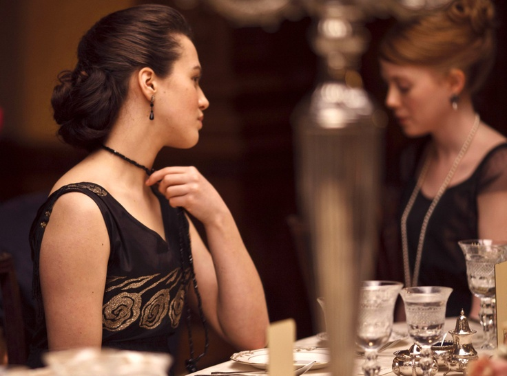 From Downton Abbey. I love the black jewelry in the show.