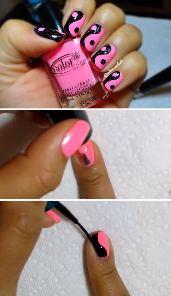 Pink & Black Yin Yang | 22 Easy Nail Art Designs for Short Nails | DIY Nail…