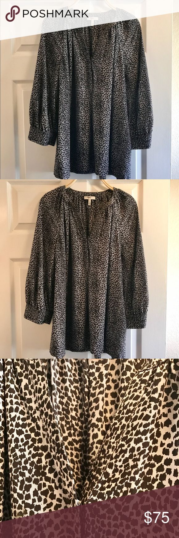 Joie Silk Animal Print Blouse Size: M Joie Silk Animal Print Blouse Size: M Like New. Gorgeous high-quality 100% silk blouse with fabric covered buttons on sleeves. Black and Grey, dress up with black trousers, dress down with denim. Bundle and Save! Make an offer! ✌ Joie Tops Blouses