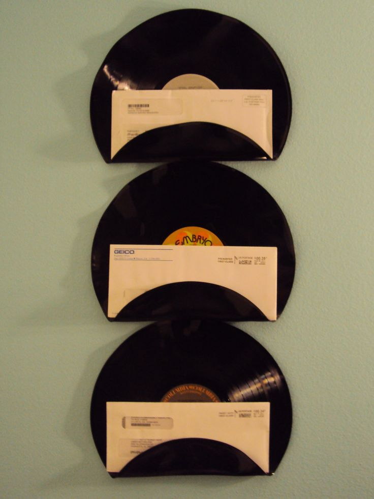 I think this is cool... and I think I can actually make this myself!   Rock n Roll Music Lover Vinyl Record Mail Holders Office Mail Organizer Set of 3. $29.00, via Etsy.