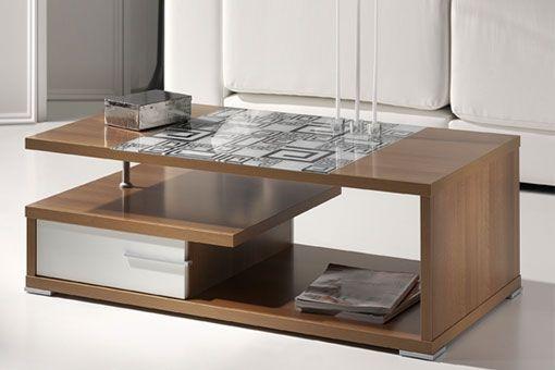 Mesa de centro con cristal adornado y cajón doble. Disponible en 3 colores.