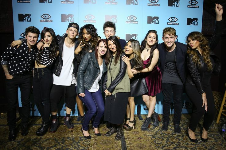 (L-R) Guitarist Charley Bagnell of Rixton, singer Camila Cabello of Fifth Harmony, drummer Lewi Morgan of Rixton, singer Normani Koredi of Fifth Harmony, MTV executive Amy Doyle, vocalist/guitarist Jake Roche of Rixton, MTV executive Lisa Lauricella, singer Ally Brooke of Fifth Harmony, singer Lauren Jauregui of Fifth Harmony, keyboardist/bassist Danny Wilkin of Rixton and singer Dinah Jane Hansen of Fifth Harmony pose backstage at MTV Artist to Watch kickoff event at House of Blues Sunset…