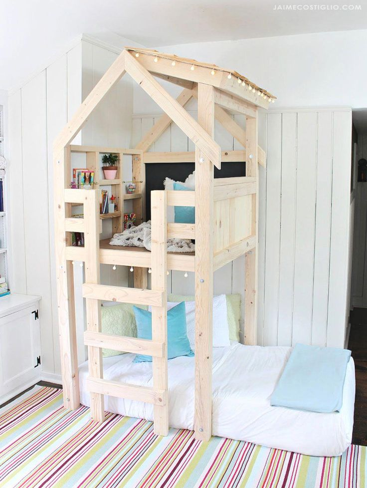 A DIY tutorial to build an indoor playhouse kids loft over