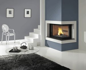 :: Luxury Home Design :: two sided corner fireplace
