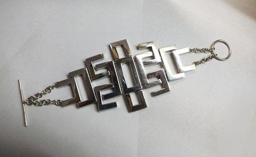 SQUARE ANGLES, Toggle Closure Bracelet, Modular Bracelet, Silver Link,