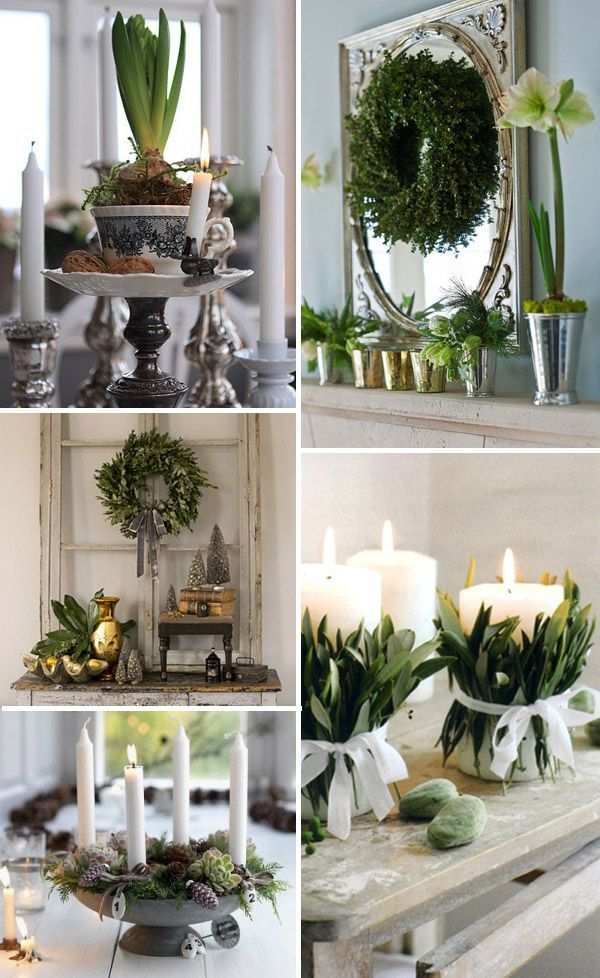 Grey & Silver Christmas decor | ... silver decorations. Fresh leaves wrapped round pillar candles Advent