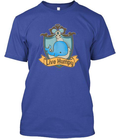 Live Humpy Cute Whale T Shirt Deep Royal T-Shirt Front