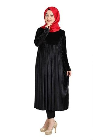 Piliseli Kadife Tunik 9279 Siyah