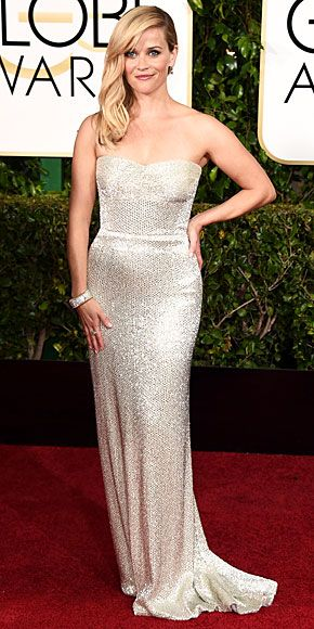 Golden Globes 2015: REESE WITHERSPOON Sure, it's simple. But it's also simply stunning. The nominee for Wild dazzles in a Calvin Klein Collection gown in one of the night's biggest trends, silver, plus equally blinding jewels.