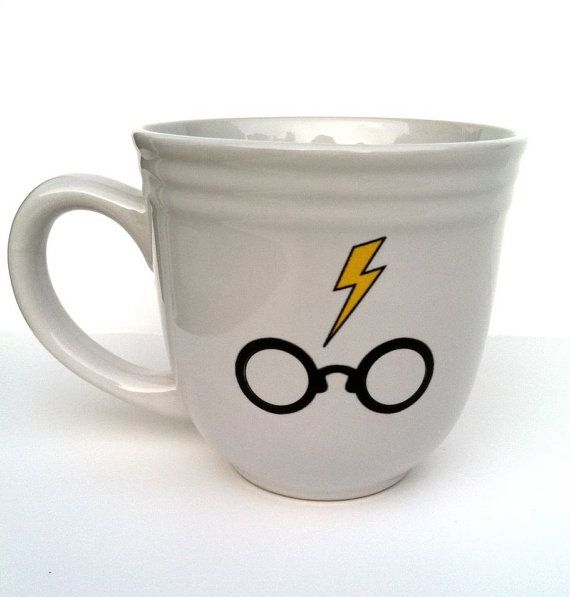 Evanesco!    This is a 17 oz. upcycled stoneware coffee mug featuring an image of the oh-so-famous boy who lived eyeglasses and lightening bolt.