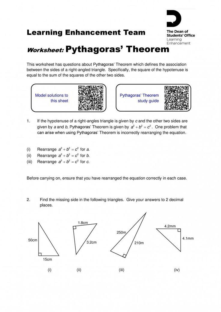 Download Pythagorean Theorem 29 In 2021 Pythagorean theorem worksheets word