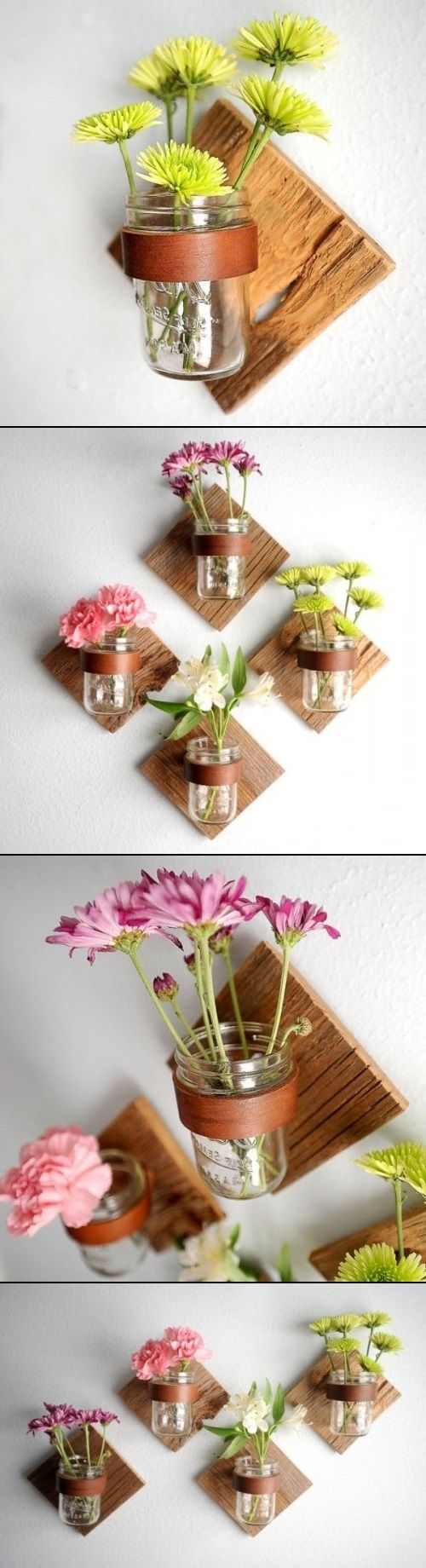 DIY Rustic Mason Jar Sconce. No how-to; but a cool idea.