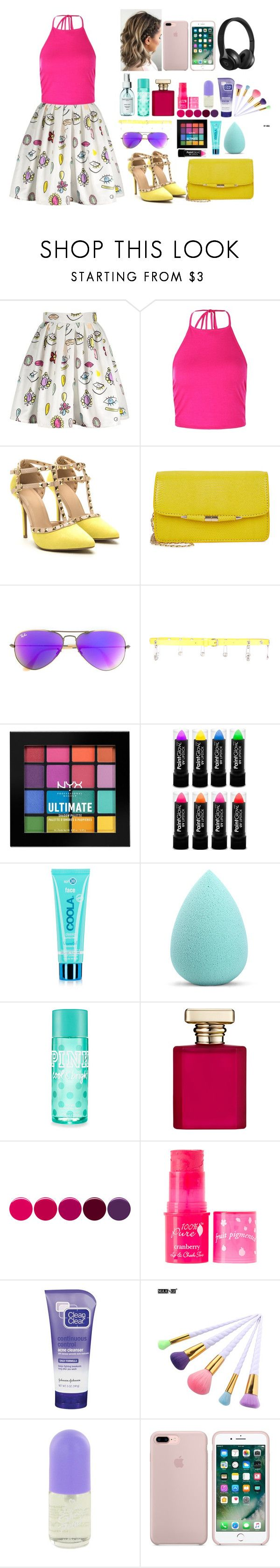 """""""Untitled #23"""" by danazena ❤ liked on Polyvore featuring Boohoo, Ray-Ban, Versus, NYX, COOLA Suncare, My Makeup Brush Set, ORMONDE JAYNE, Deborah Lippmann, 100% Pure and Clean & Clear"""