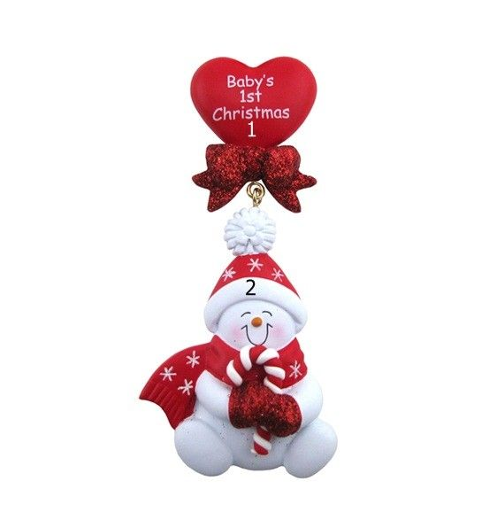Baby Christmas Ornament Red Snowbaby Dangling Heart