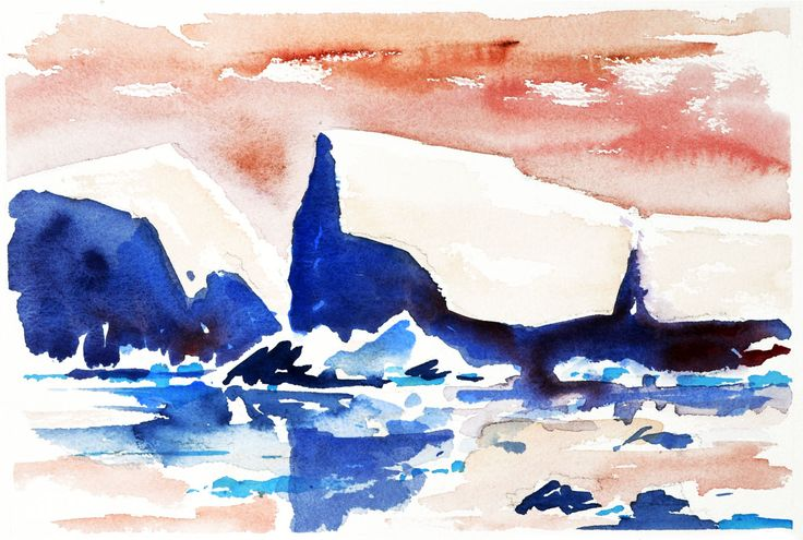 Greenland. Watercolour by Ole Sondergaard.