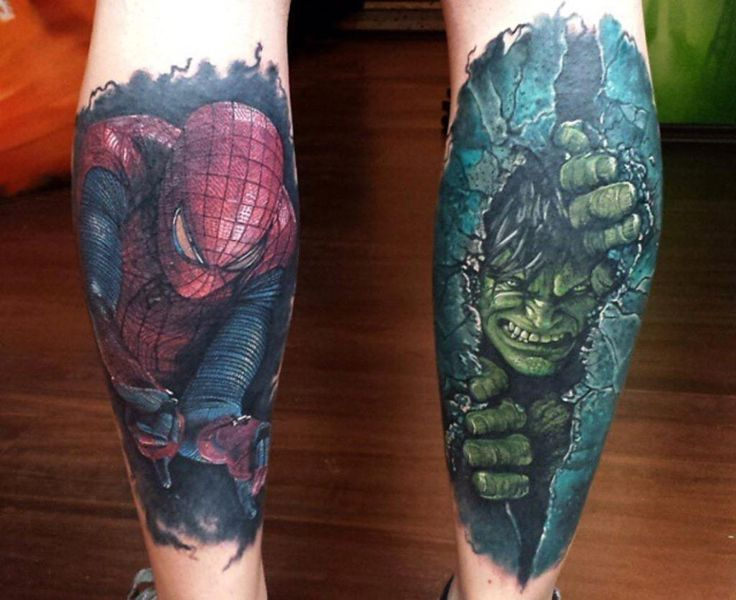 Spiderman and Hulk Tattoo
