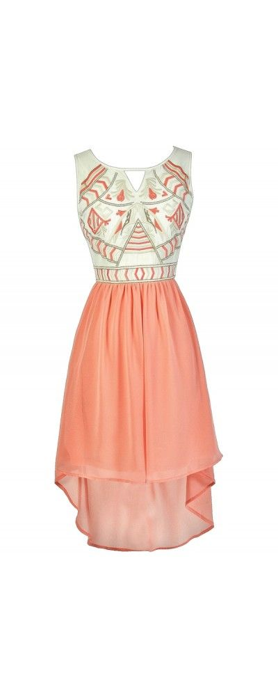 Dramatic Designs Embroidered High Low Dress in Peach  www.lilyboutique.com