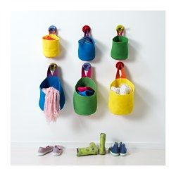 IKEA - STICKAT, Basket, set of 2, , Space-saving baskets that help to keep your children's belongings organized.Easy to hang, thanks to the sewn loop.
