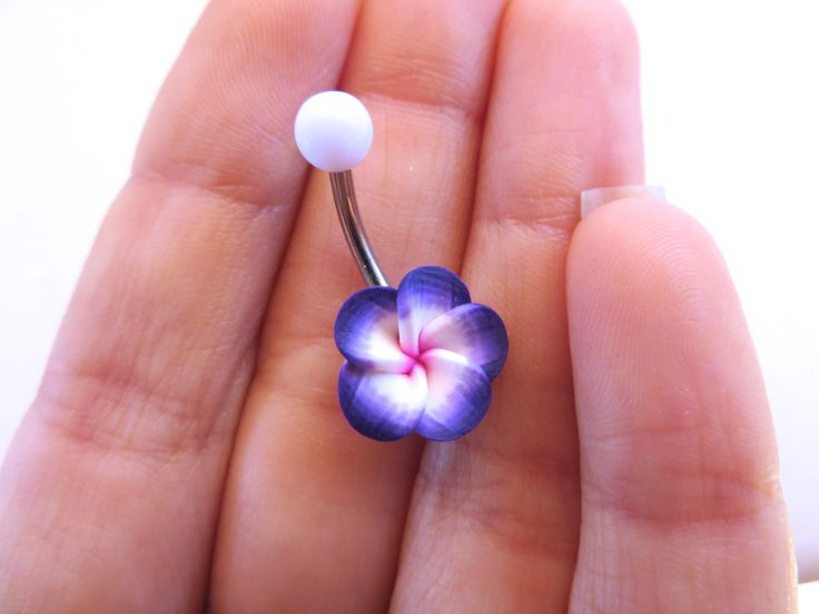 Periwinkle Purple Hawaiian Flower Plumeria Belly by Azeetadesigns