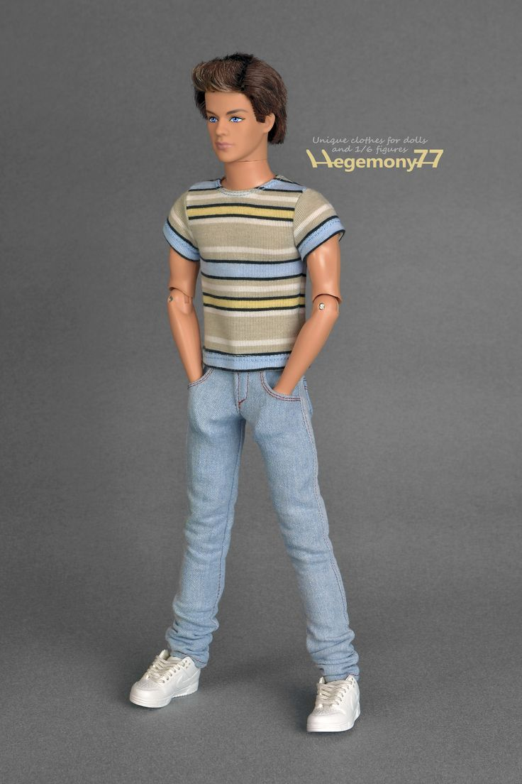 Ken doll clothes - custom made high quality light blue jeans pants and striped T shirt | 1:6th scale fashion doll clothes and photo made by Hegemony77