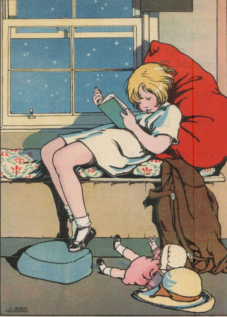 The Picture Book.Girl reading book in window seat. Honor C Appleton (English, 1879-1951). Appleton illustrated over 150 children's books using watercolour and pen and ink drawings. She would spend many hours watching children at play, and her innocent and natural illustrations were generally from a floor level viewpoint and so were appealing to children who have the same perspective.: