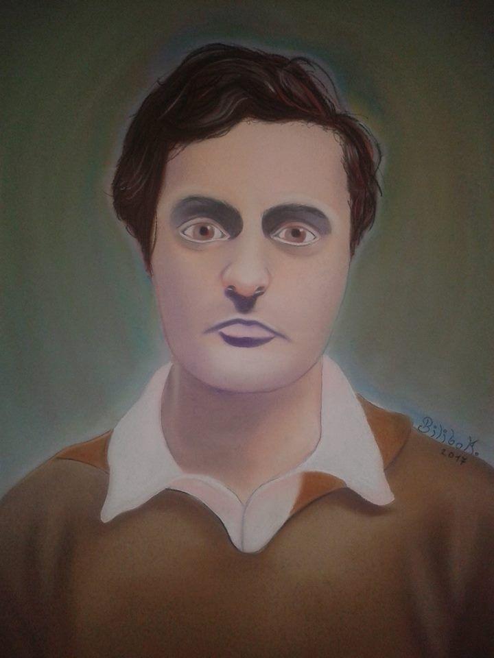 """""""Modigliani"""" 50x70 cardboard, pastels."""