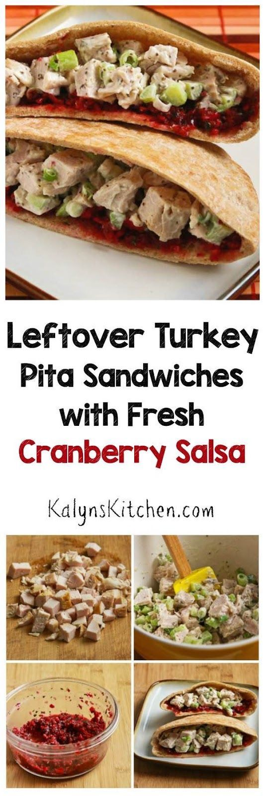 Easy Leftover Turkey Pita Sandwiches with Fresh Cranberry Salsa. A delicious recipe with a fantastic, easy cranberry salsa recipe.