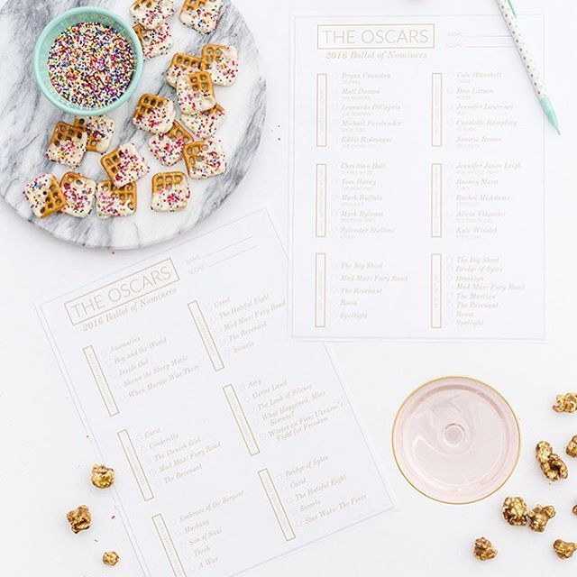 Printable Oscars 2016 Ballot And A Recipe For Chocolate-Covered Pretzel Bites | Glitter Guide