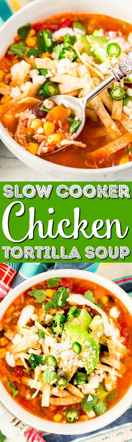 This Slow Cooker Chicken Tortilla Soup is loaded with delicious ingredients like chicken, peppers, tomatoes, corn, and beans and the bold flavor of garlic and cayenne! A comforting and hot meal for chilly nights!