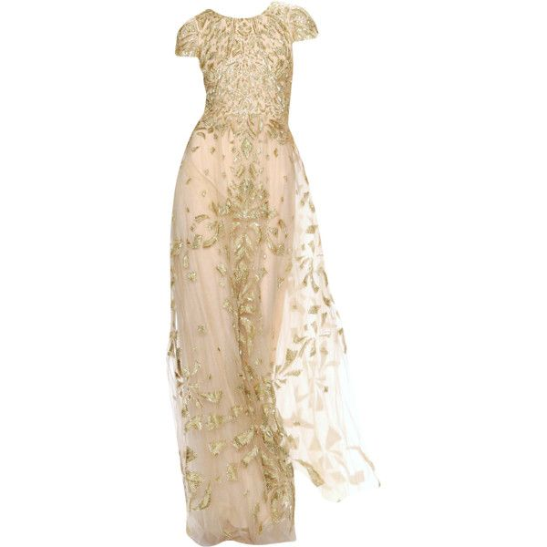 Monique Lhuillier - edited by mlleemilee ❤ liked on Polyvore featuring dresses, gowns, long dress, edited, beige dress, monique lhuillier, monique lhuillier gowns, beige evening dress and beige long dress