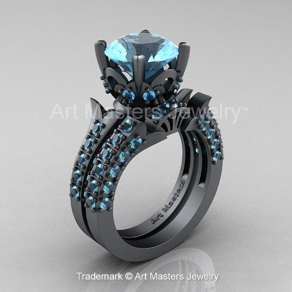 Classic French 14K Grey Gold 3.0 Ct Aquamarine by artmasters, $3899.00
