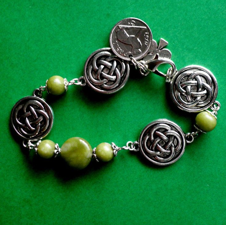 An Irish Vintage Coin and Celtic Charm Bracelet with Connemara Marble Gemstones from The Wild Atlantic Way. by VintageIrishDresser on Etsy
