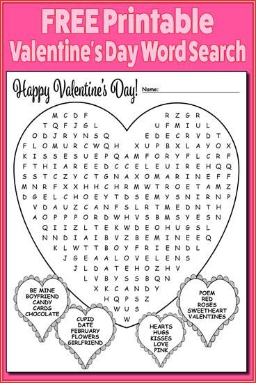 free printable valentines day word search
