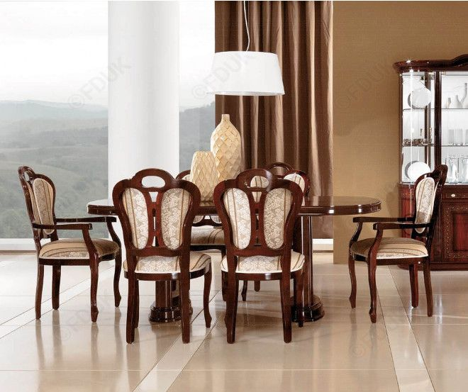 Pamela Mahogany Oval Extension Table With 6 Chairs   4 Vittoria Chairs With  2 Carver Chair, Available At Lowest Online Price On Furniture Direct UK.
