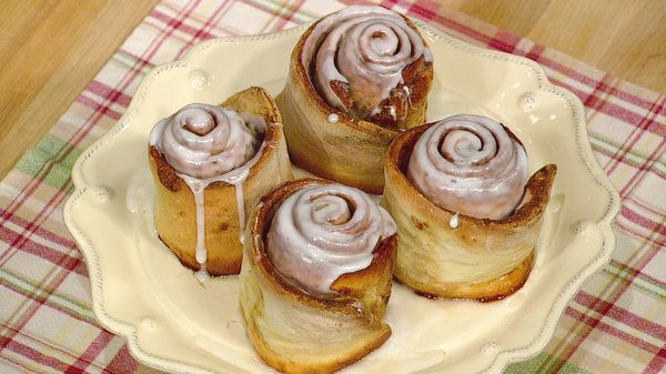 Cinnamon Rolls by Mario Batali I think I caught a tiny bit of the show when he said you could use a pre-made pizza dough