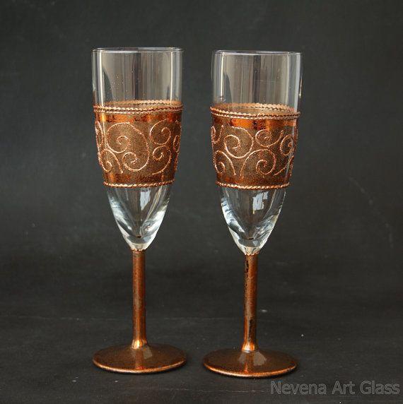 Wedding Glasses Copper Glasses Champagne Glasses by NevenaArtGlass