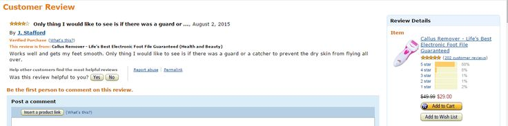 Another happy customer of Life's Best Callus Remover