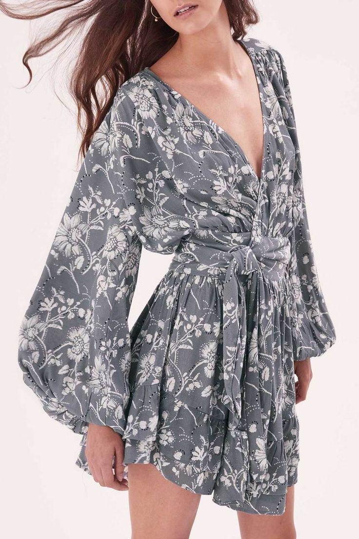 Steele - Wildflower Wrap Dress - Ash