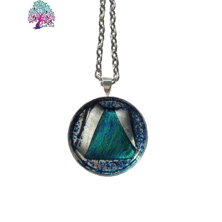 $20.00 Neck Art Pendant Round Blue and Silver by NeckArt on Handmade Australia
