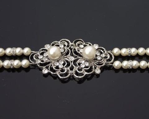 Vintage Inspired Rhinestone and Pearl Bracelet, Eve
