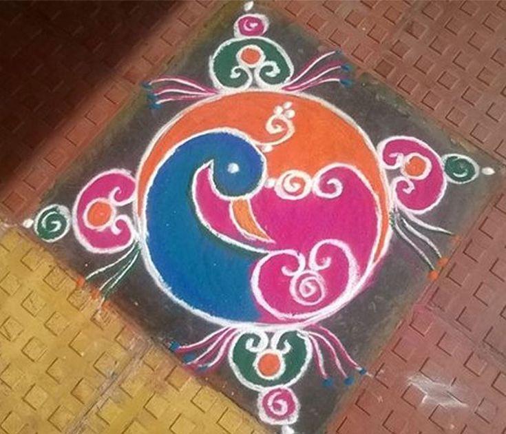 Colorful Peacock Rangoli Designs