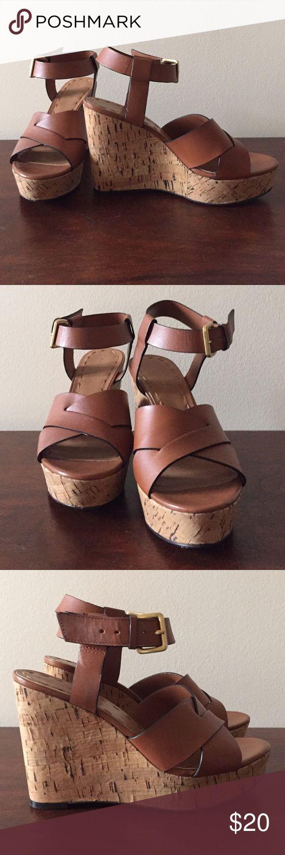Shoes Tahari brown leather wedge sandals. Tahari Shoes Sandals
