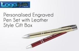 Personalised Engraved Pen Sets with Leather Style Gift Box