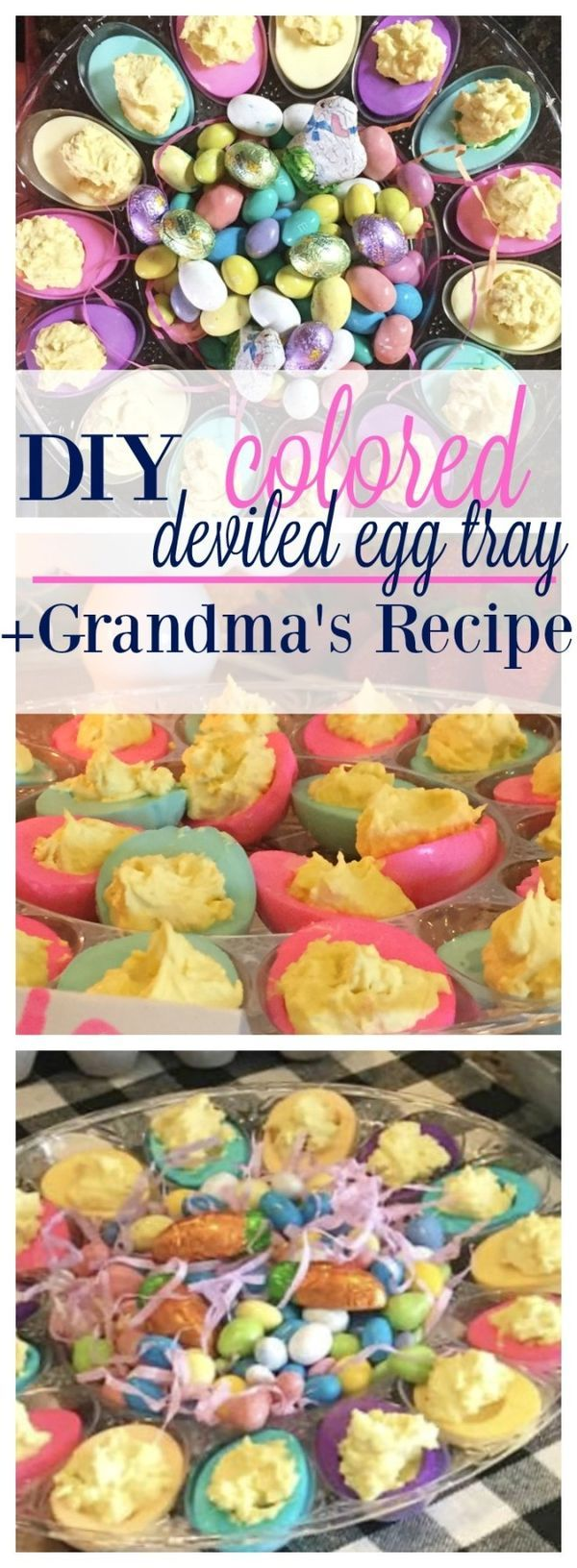 DIY Colored Deviled Egg Tray for Easter + Grandma's Deviled Egg Recipe