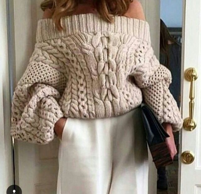 Amazing off the shoulder chunky knit sweater in beige | www.bold ...