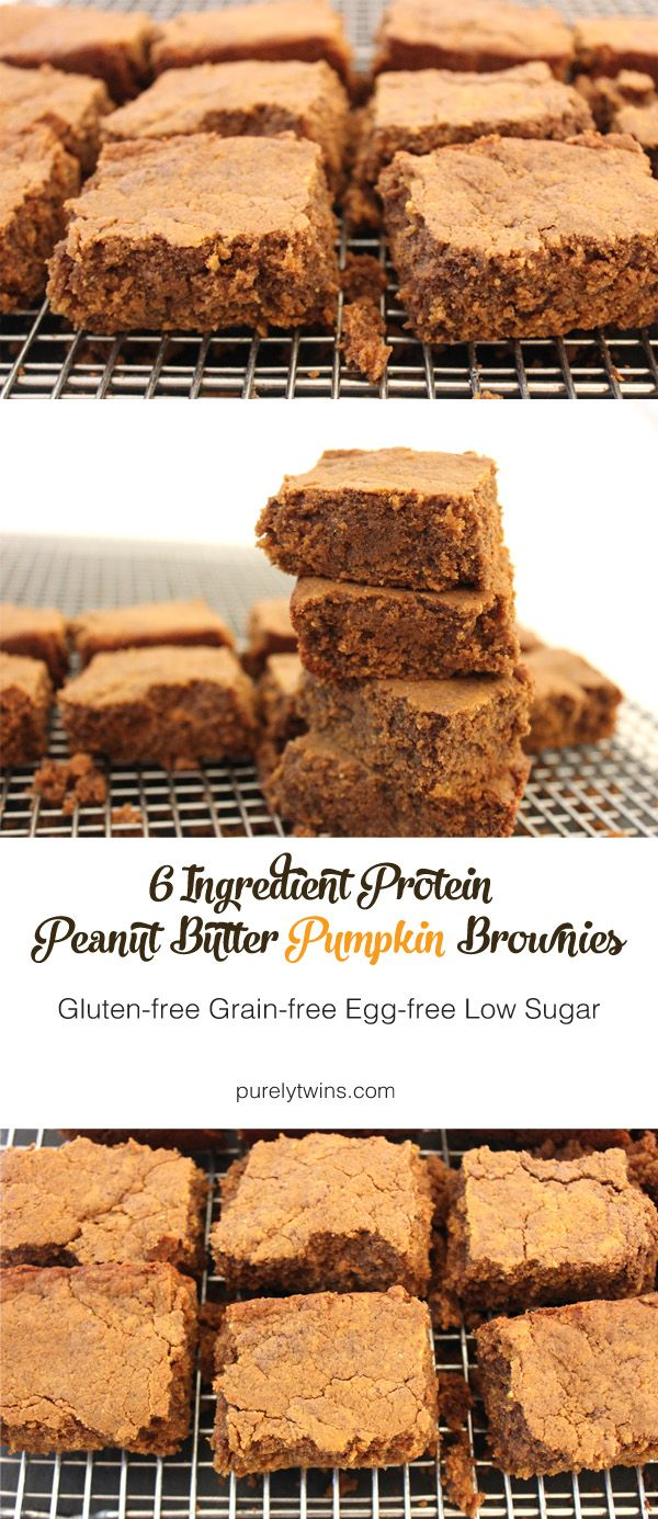 6 ingredient healthy peanut butter protein pumpkin brownies. Vegan and gluten-free recipe, plus low in sugar. If you love peanut butter, chocolate, and pumpkin, you'll love these brownies. They are easy to make too!