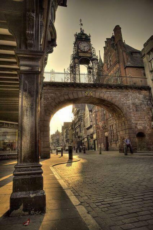 Eastgate & Eastgate Clock, Chester, England — by Matt Baskerville. Beautiful start to the day