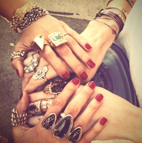 brittany balyn's Decalz: Chunky Rings | LockerzCocktails Rings, Friends, Nicole Richie, Hands, Bracelets, Red Nails, Jewelry, Nails Polish, Accessories