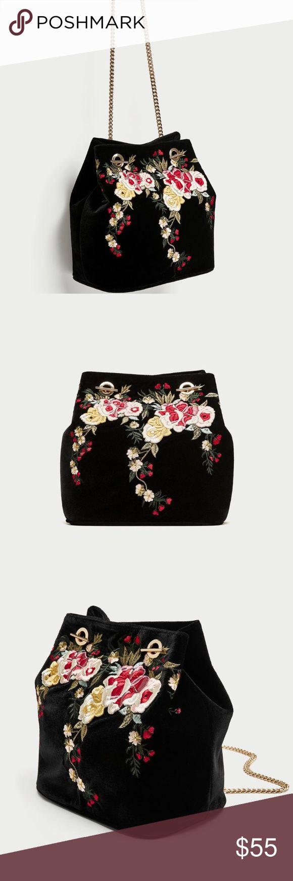Embroidered Velvet Bucket Bag Black velvet bucket bag with floral embroidery on the front. Zara Bags Shoulder Bags